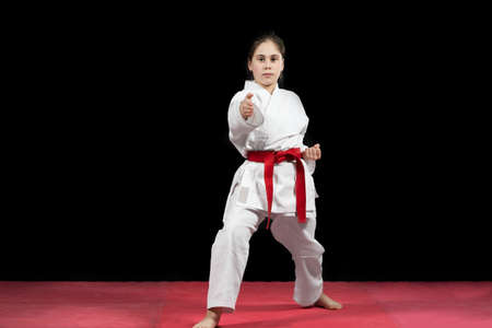 Young girl preforming karate martial arts. Banco de Imagens