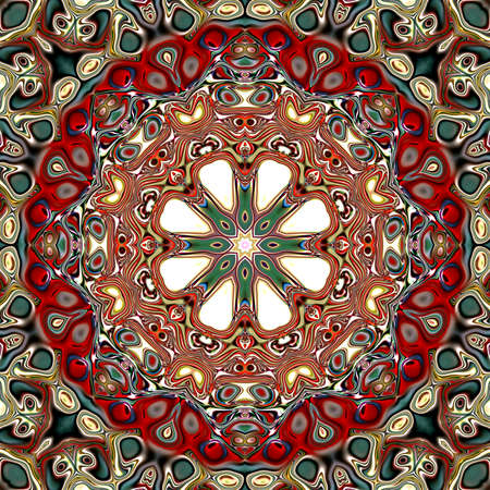 Colored mandala. Oriental round pattern. Mystical motif, Abstract exotic background. Fantastic fractal design, Psychedelic digital art, shining geometric texture.