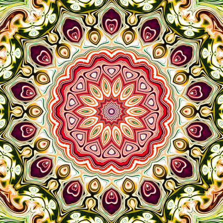 Colored mandala. Oriental round pattern. Mystical motif, Abstract exotic background. Fantastic fractal design, Psychedelic digital art, shining geometric texture,