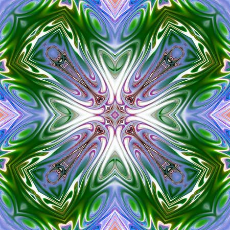 Barevná mandala, Orientální kulatý vzor, Mystický motiv, Abstraktní exotické pozadí. Fantastický fraktální design, Psychedelické digitální umění, zářící geometrická struktura. Reklamní fotografie
