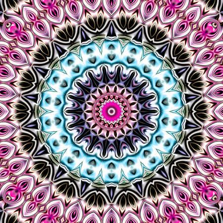 Einzigartiges Mandala, orientalisches rundes Muster, mystisches Motiv, abstrakter exotischer Hintergrund. Fantastisches Fractaldesign, bunte digitale Kunst, glänzende geometrische Beschaffenheit. Standard-Bild - 92265972