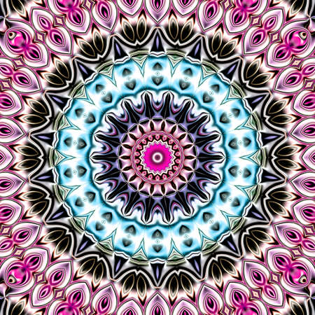 Unique mandala, Oriental round pattern, Mystical motif, Abstract exotic background. Fantastic fractal design, Colorful digital art, shining geometric texture. Reklamní fotografie