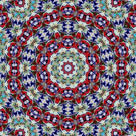 Unique mandala, Oriental round pattern, Mystical motif, Abstract exotic background. Fantastic fractal design, Colorful digital art, shining geometric texture. 写真素材