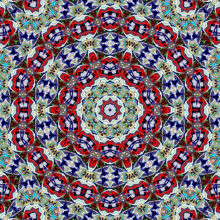 Unique mandala, Oriental round pattern, Mystical motif, Abstract exotic background. Fantastic fractal design, Colorful digital art, shining geometric texture. Stockfoto
