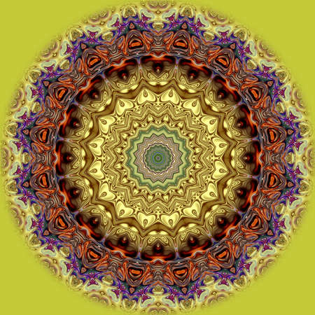 Unique mandala, Oriental round pattern, Mystical motif, Abstract exotic background. Fantastic fractal design, Colorful digital art, shining geometric texture. Stock Photo