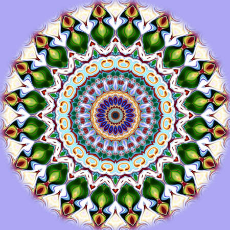 Unique mandala, Oriental round pattern, Mystical motif, Abstract exotic background. Fantastic fractal design, Colorful digital art, shining geometric texture. Stock Photo