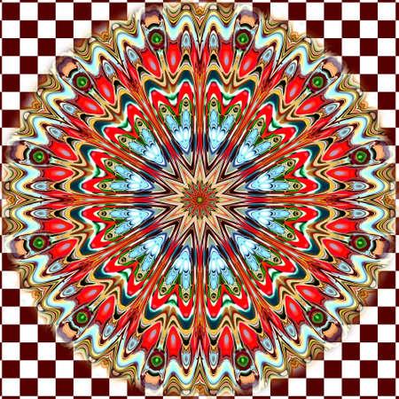Unikátní mandala, Orientální kulatý vzor, Mystický motiv, Abstraktní exotické pozadí. Fantastický fraktální design, barevné digitální umění, zářící geometrická struktura.