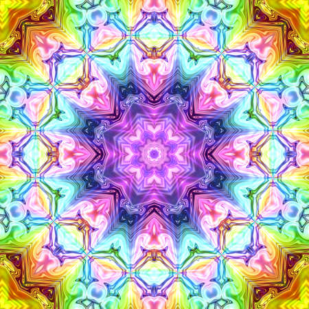 Unique mandala, Oriental round pattern, Mystical motif, Abstract exotic background. Fantastic fractal design, Colorful digital art, shining geometric texture. Фото со стока