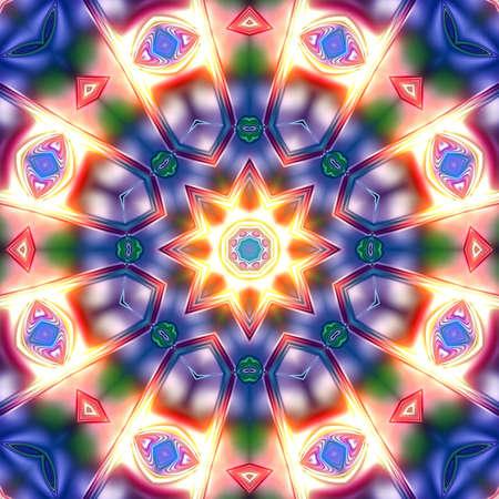 Unique mandala, Oriental pattern, Mystical motif, Abstract background. Fantastic fractal design, Colorful digital art, geometric texture. Stock Photo