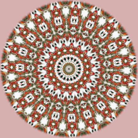 Oriental pattern, Mystical motif, Abstract background. Fantastic fractal design, Colorful digital art, geometric texture.
