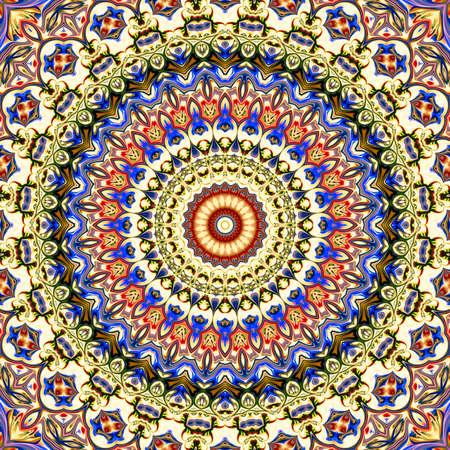 Colorful digital art, Oriental pattern, geometric texture, Mystical motif, Abstract background, Fantastic design. Stock Photo