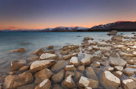 tekapo: Enchanted Sunset at Lake Tekapo, Southland, New Zealand Stock Photo