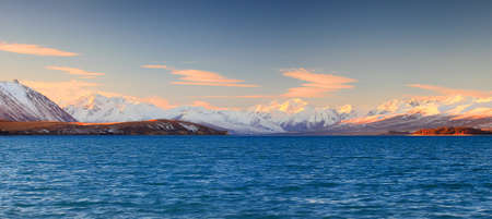 Snow Capped Mountains of the Southern Alps, Lake Tekapo, New Zealand photo