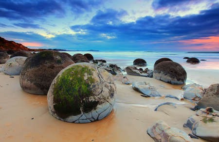 Scenic view at Moeraki Boulders, New Zealand 版權商用圖片