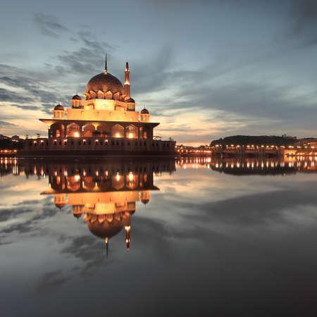 Dawn over Putra Mosque, Putrajaya, Malaysia photo
