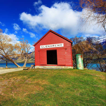 Famous red house at Glenorchy, Queenstown, New Zealand photo