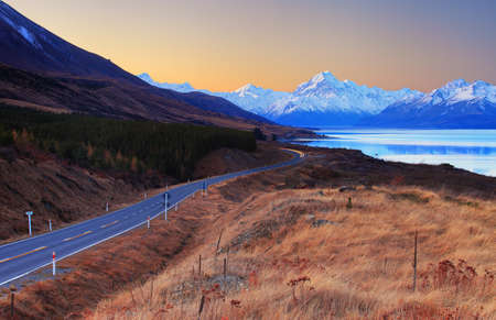 Sunset view of Mount Cook and Lake Pukaki, New Zealand photo