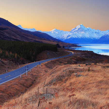Mount Cook sunset view from Peter s Lookout, South Island, New Zealand photo
