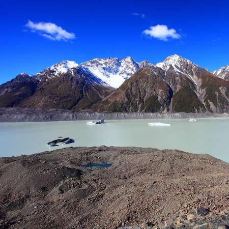 tasman: Tasman Glacier under the blue sky, South Island, New Zealand Stock Photo