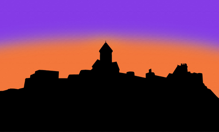 Silhouette of the ancient fort Narikala in Tbilisi Stock Photo