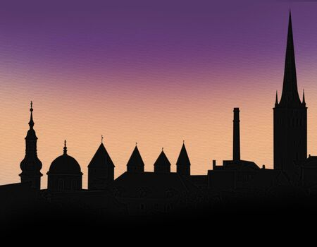 Silhouette of the ancient city of Tallinn
