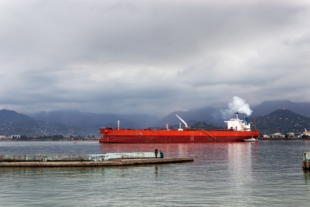 Ocean cargo ship sheltered from a storm in the bay of the port, Batumi, Georgia