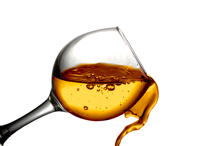 white wine: Dark Orange liquid, water, apple juice, white wine pouring into a glass, liquid in a speaker, isolated on a white background