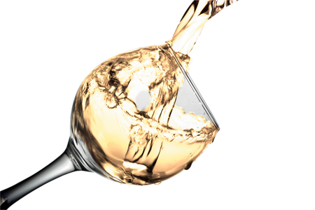 Bright Orange liquid, water, apple juice, white wine pouring into a glass, liquid in a speaker, isolated on a white background