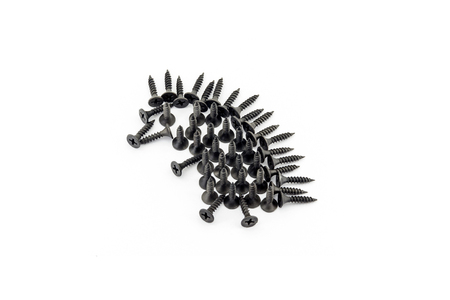 Hedgehog laid out withblack Oxidized self-tapping screw isolated on white background Stock Photo
