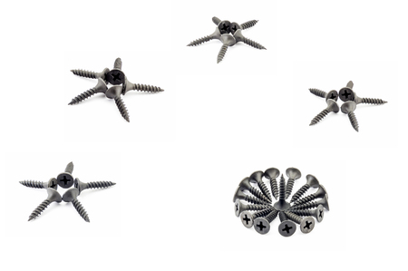 Four five-pointed stars and a circular composition are lined with black Oxidized self-tapping screw isolated on white background Stock Photo
