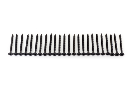 oxidized: A raw of avarage black Oxidized self-tapping screws isolated on white background