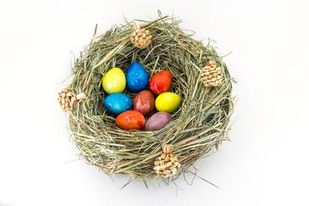 Closeup of easter equail eggs in handmadde nest