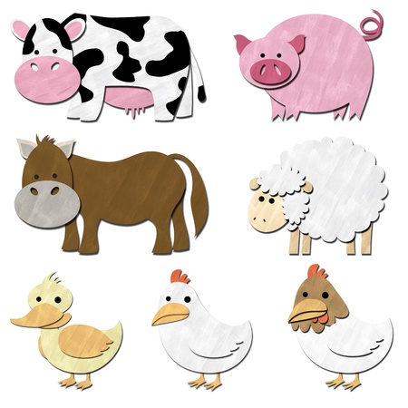 a set of farm animals pastel color photo