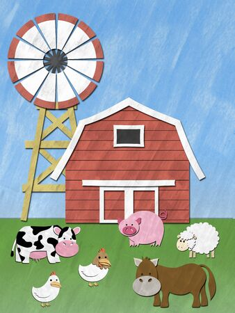 barnyard: Farm Animal stand in front of barnyard and wind mill Stock Photo