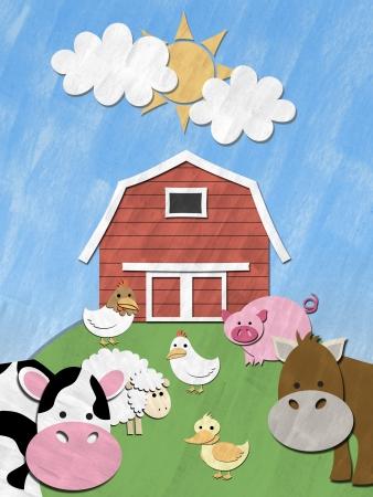 barnyard: Farm animals stand in front of barnyard on sunny day