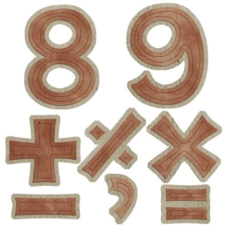 equal to: number eight nine and numeric symbol leather sewing style