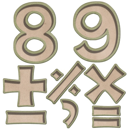 number eight nine and numeric sysmbol recycle style Stock Photo - 13826001