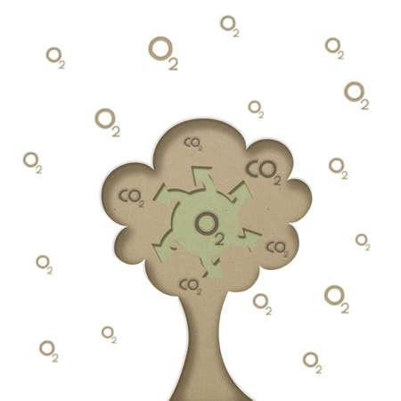 aire puro: el arte conceptual del árbol de oxígeno generada papel cortado al estilo