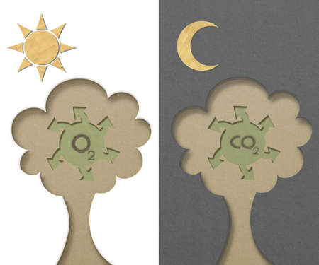 carbondioxide: concept art tree generated oxygen and carbondioxide paper cut style