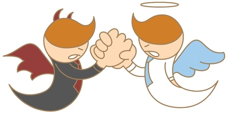cartoon character of angel and devil arm wrestling photo