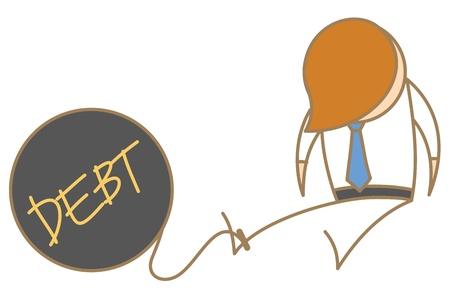 plundering: cartoon karakter van de mens in de gevangenis met schulden bal