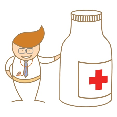 cartoon character of doctor talk about medicine Stock Photo - 17389469