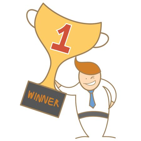 cartoon character of  man holding trophy Stock Photo - 17389475