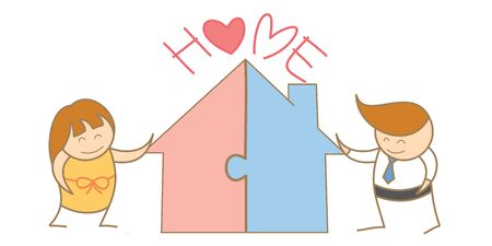 cartoon character of couple putting jigsaw of house together Stock Photo - 17389429