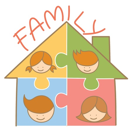 cartoon character of family jigsaw house photo