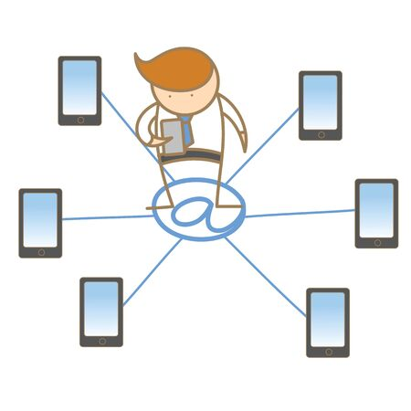 cartoon character of man getting and receiving e-mail Stock Photo - 17389478