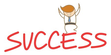 cartoon character of  man happy jumping on top of success Stock Photo - 17389398