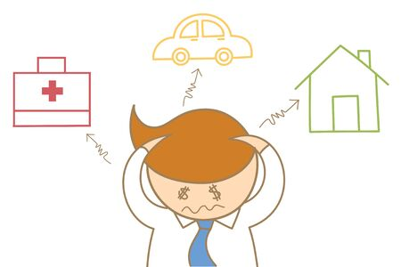 cartoon character of business man headache about debt and expense for house car and health care Stock Photo - 17389396