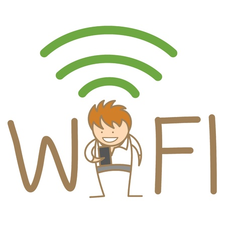 wifi sign: cartoon character of man being a hot spot