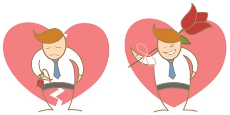 cartoon character of man fail and success in love photo